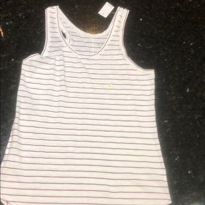 Loft magenta and white striped tank top NWT size S
